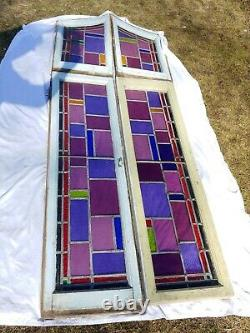 Antique Gothic Stained Glass Large Church Window 4 Panel 3' x 8