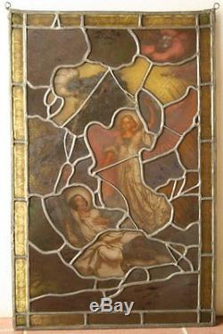 Antique Hand LEADED Painted STAINED GLASS Panel St Paul Can Ship Worldwide