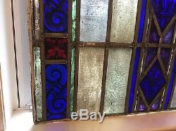 Antique Leaded Stained Glass Window Panel 1930s Staten Island Parish 27 x 40