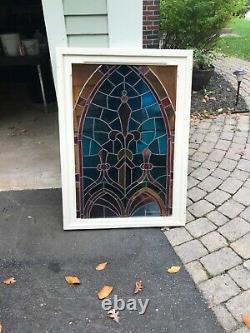Antique Leaded Stained Glass Window Panel 32 x 45