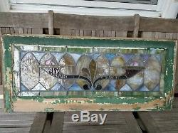 Antique Leaded Stained Glass Window Panel Frame Reclaim Salvage 35 3/4