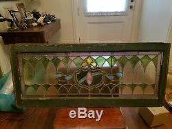 Antique Leaded Stained Glass Window Panel Frame Reclaim Salvage 48 by 20