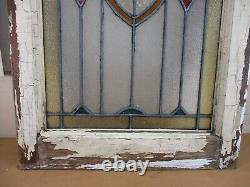 Antique Leaded Stained Stain Glass FLOWERED Window Panel in Wood Frame 20 x 28