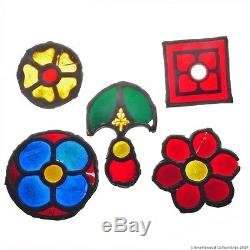 Antique Medieval 13th Century Stained Glass Panel Fragments from Koln Cathedral
