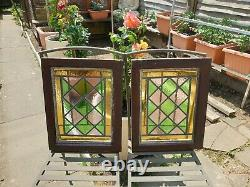 Antique Pair of Leaded Stained Glass Window Panel Victorian Original Harlequin 5