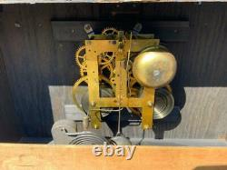 Antique Sessions Western Mission Mantel Shelf Clock Green Slag Glass Panels Runs