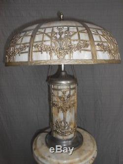 Antique Signed 1920's 8-Panel With Swans in Base Curved Slag Stained Glass Lamp