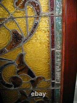 Antique Stained Glass Church Panel In Window Frame 30 Tall x 25 Wide