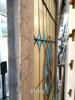 Antique Stained Glass Side Light Wall Window Panel 93-1/2X41-3/4X1-7/8 Inches