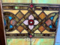 Antique Stained Leaded Glass Window Panel