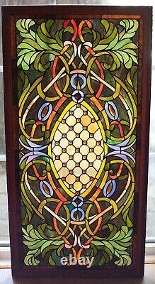 Antique Stained Leaded Glass Window Panel Transom Hand Crafted 20¾ x 40½ framed