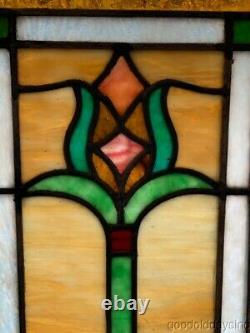 Antique Stained Leaded Glass Window panel 20 x 10