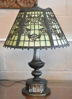 Antique Stained Slag Glass Panel Shade On Pairpoint Lamp Base