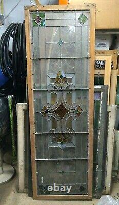 Antique Stained glass panel/transom Colored & colorless 22-3/8x68x1