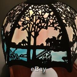 Antique Victorian Landscape Scene Miller Panel Stained Slag Glass Lamp Gorgeous