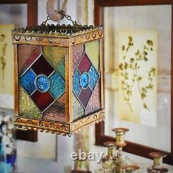 Antique Victorian Stained Glass Coloured Leaded Panelled Lantern Light Shade