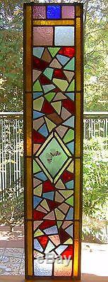 Antique Victorian Stained Glass Window Panel Hand Painted Butterfly Phila PA