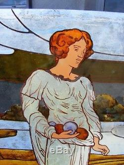 Antique Vintage Stain Glass Painted Panel