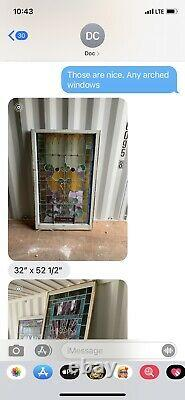 Antique Vintage Stained Glass Panel 32 X 52.5 Church Stained Window 5 Avail