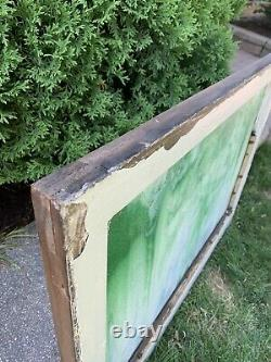 Antique Vintage Stained Glass Window Panel in Wood Frame