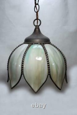 Antique Vtg Stained Slag Glass Green Tulip Shade 8 Panel Hanging Lamp Pendant