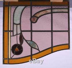 Antique Window Set of Three Stained/Leaded Glass Panels withRoses