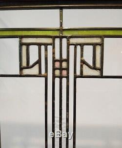 Antique c1915 Arts & Crafts Prairie Style Stained Glass Panel Cabinet Door