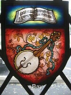 Architectural SalvageBanjo Stained Glass Panel in Excellent Condition