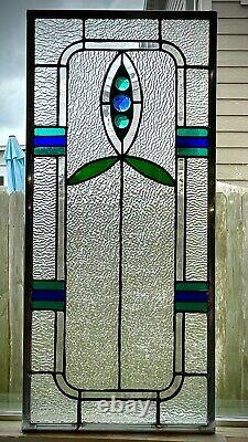 Architecture Stained Glass Window panel (11 1/8x 24 1/2)