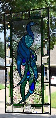 Art Nouveau Peacock Stained Glass Window Panel