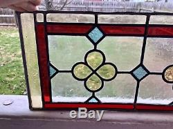 Arts & Crafts Stain Glass Leaded Panel Architectural Header Panel 22x 9-1/4T