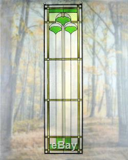 Arts and Crafts Ginkgo Stained Glass Panel 35.5 x 9 Hand Crafted in the USA