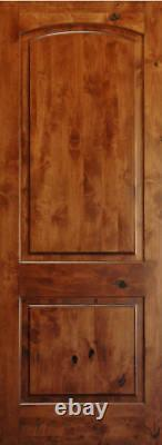 Authentic Knotty Alder 2 Panel Arch Top Solid Core Wood Doors 8'0-H x 1-3/4-TH