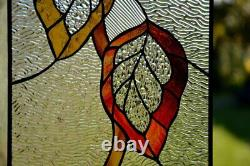 Autumn leaf suncatcher. Stained glass panel. Glass window hanging