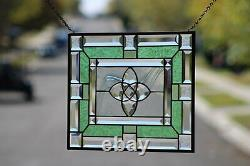 BIG BANG-Beveled Stained Glass Window Panel- Hanging 18 1/2 x 14 1/2
