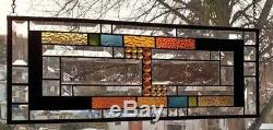 BOLDLY BEVELED Stained Glass Window Panel (Signed and dated)