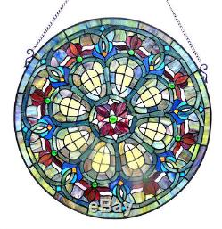 Baroque Jewels Victorian Green Blue 24 Round Stained Glass Window Panel