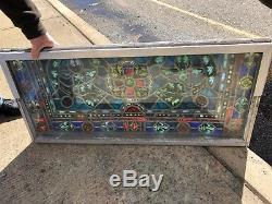 Beautiful Antique Vtg Catholic Church Stained Glass Windows 3 Pc. 21 Panels