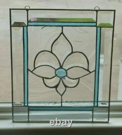 Beautiful Aqua/Clear Beveled and Stained Glass Window Panel