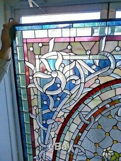 Beautiful Large Floral Leaded and Stained Glass Window / Panel 48x72