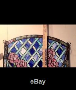 Beautiful Stained Glass Pink Rose + Blue 24 X 18 Hanging Panel Local P/u Ny