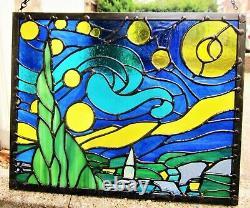 Beautiful Starry Night Van Gogh Stained Glass Contemporary Handmade Window Panel