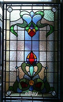 Beautiful Traditional Art Nouveau / Victorian Design Stained Glass Leaded Panel