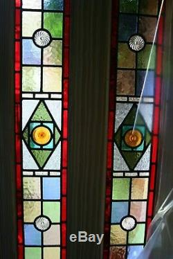Beautiful pair of victorian design stained glass panel with amber rondels