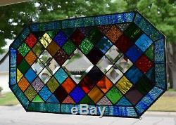 Bevel and Color Stained Glass Window Panel Cheers