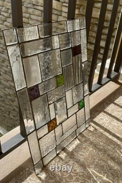 Beveled Stained Glass Window Panel 19 X 15 Inches Architectural Beveled Glass