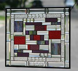Beveled Stained Glass Window Panel 27 3/4 x 21 3/4
