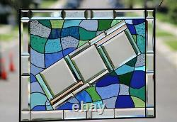 Beveled Stained Glass Window Panel 29 ½ X 22 ½Transom Hanging Blue-Green
