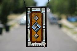 Beveled Stained Glass Window Panel, Aged Frame Work Amber Blue