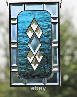 Beveled Stained Glass Window Panel, Hanging 17.5 x10.5 Buckaroo Blue